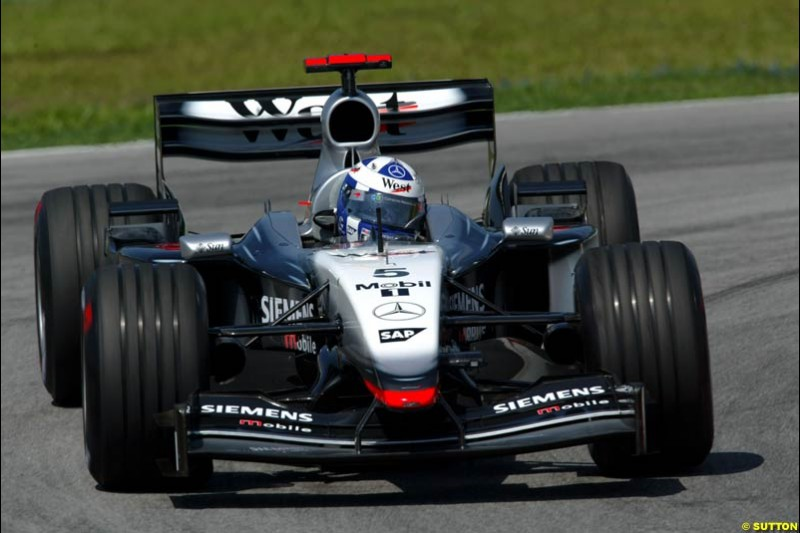 David Coulthard, McLaren. Friday qualifying for the Malaysian GP. Sepang International Circuit, March 21st 2003.