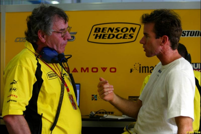 Gary Anderson and Ralph Firman, Jordan, during Friday morning testing at Sepang International Circuit. Malaysian GP, March 21st 2003.