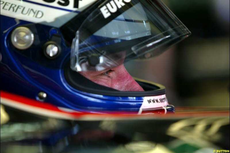 Jos Verstappen, Minardi, during Friday morning testing at Sepang International Circuit. Malaysian GP, March 21st 2003.