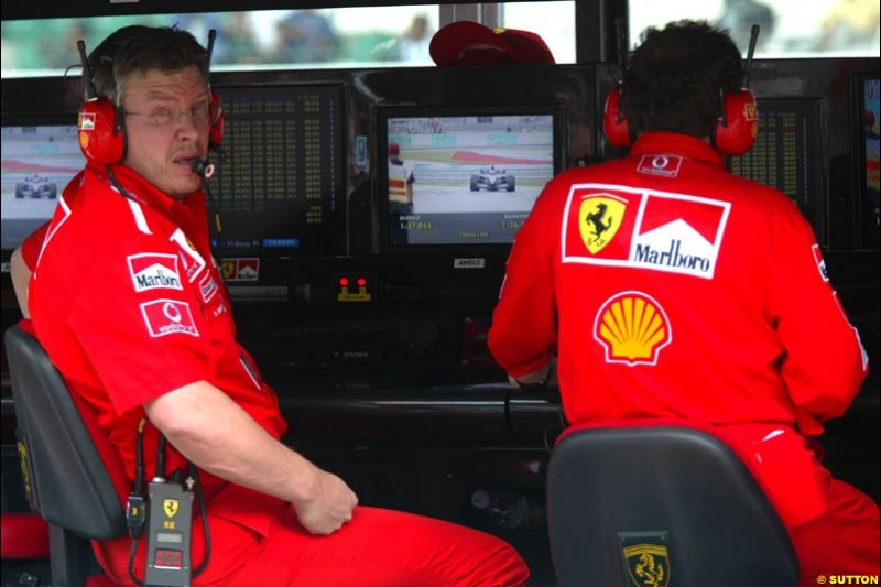 Ross Brawn, Ferrari, during Saturday qualifying for the Malaysian GP. Sepang, March 22nd 2003.