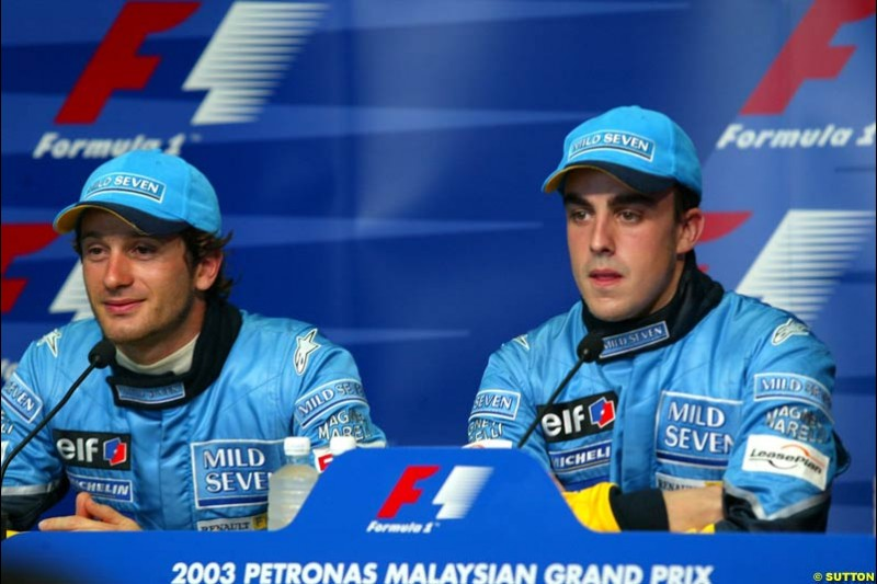 The Renault drivers at the Post qualifying press conference. Saturday, Malaysian GP. Sepang, March 22nd 2003.