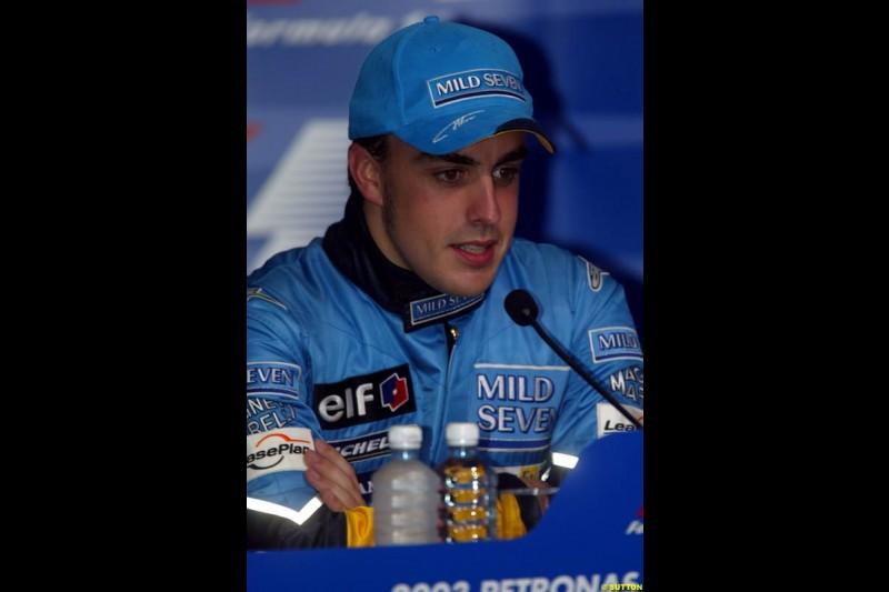 Fernando Alonso, Renault, at the Post qualifying press conference. Saturday, Malaysian GP. Sepang, March 22nd 2003.