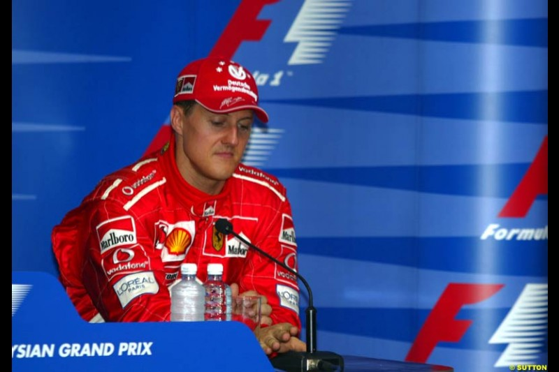 Michael Schumacher, Ferrari, at the Post qualifying press conference. Saturday, Malaysian GP. Sepang, March 22nd 2003.