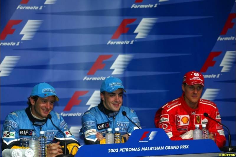 Post qualifying press conference. Saturday, Malaysian GP. Sepang, March 22nd 2003.