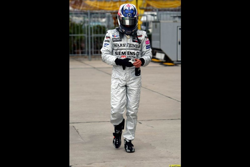 Kimi Raikkonen, McLaren, after Saturday qualifying for the Malaysian GP. Sepang, March 22nd 2003.