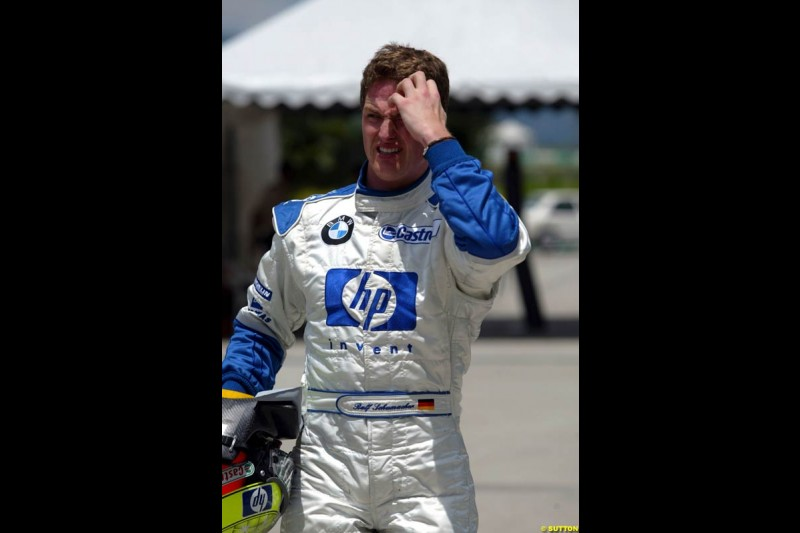 Ralf Schumacher, Williams, after Saturday qualifying for the Malaysian GP. Sepang, March 22nd 2003.