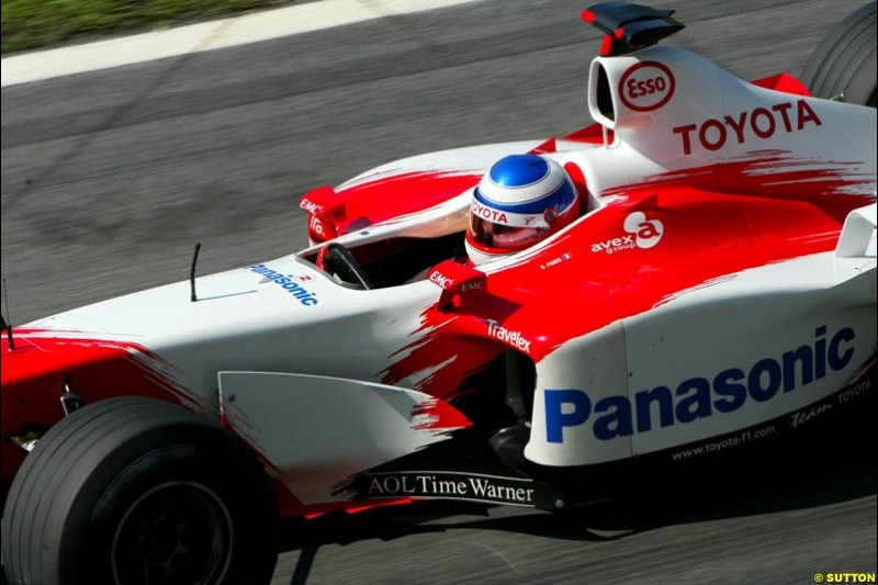Olivier Panis, Toyota, during Saturday qualifying for the Malaysian GP. Sepang, March 22nd 2003.