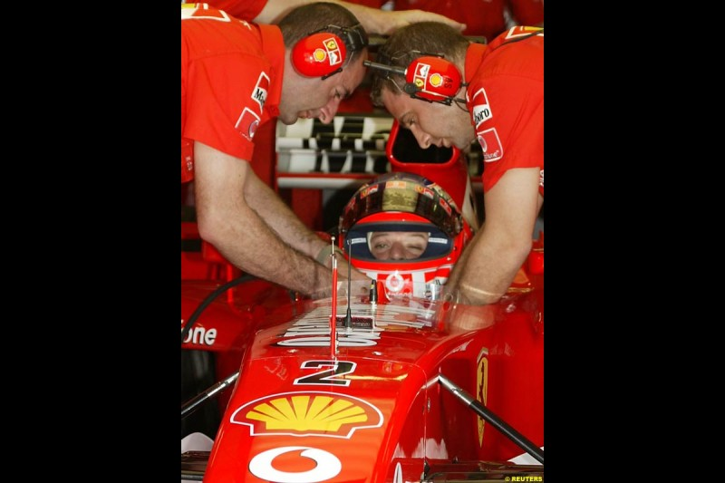 Rubens Barrichello, Ferrari, during Saturday practice for the Malaysian GP. Sepang, March 22nd 2003.