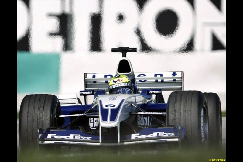 Ralf Schumacher, Williams, during Saturday practice for the Malaysian GP. Sepang, March 22nd 2003.