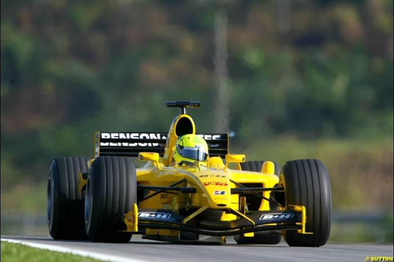 Ralph Firman, Jordan, during Saturday practice for the Malaysian GP. Sepang, March 22nd 2003.