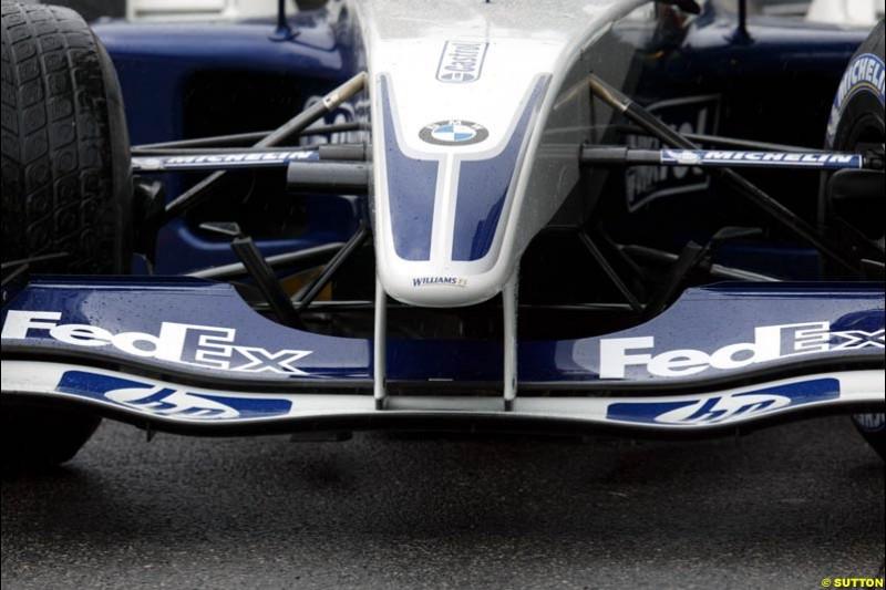 Williams bring new front wing to Interlagos. Brazilian Grand Prix. Sao Paulo, April 4th 2003.