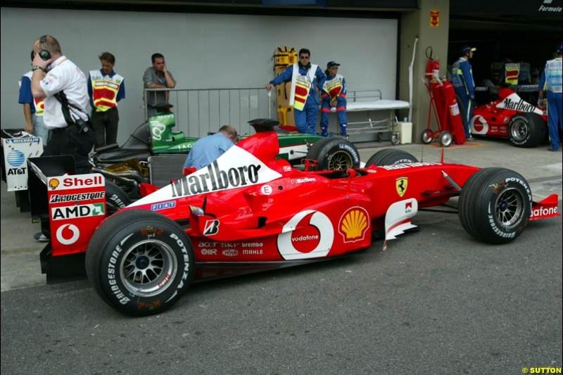 Parc ferme after Saturday qualifying for the Brazilian Grand Prix. Interlagos, Sao Paulo, April 5th 2003.