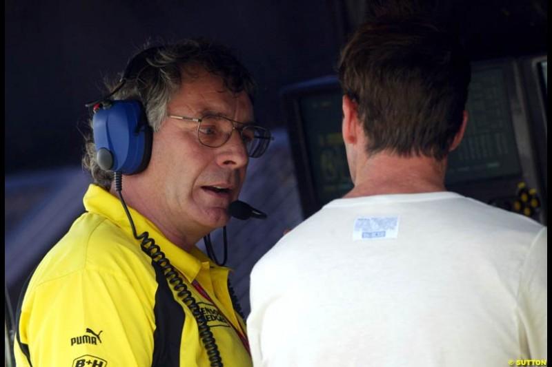 Gary Anderson and Ralph Firman. Saturday qualifying for the Brazilian Grand Prix. Interlagos, Sao Paulo, April 5th 2003.