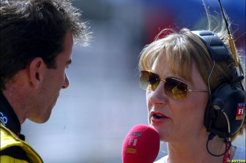 Ralph Firman talks to ITV's Louise Goodman. Saturday qualifying for the Brazilian Grand Prix. Interlagos, Sao Paulo, April 5th 2003.
