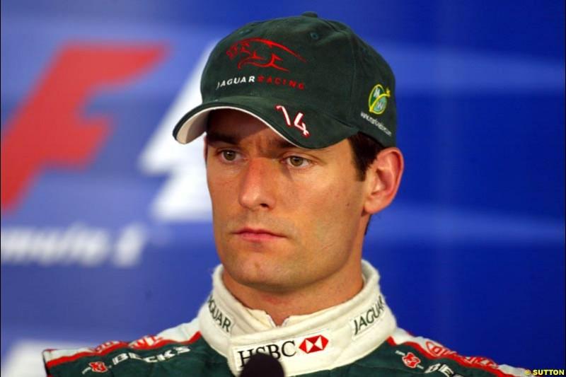 Mark Webber. Saturday qualifying for the Brazilian Grand Prix. Interlagos, Sao Paulo, April 5th 2003.