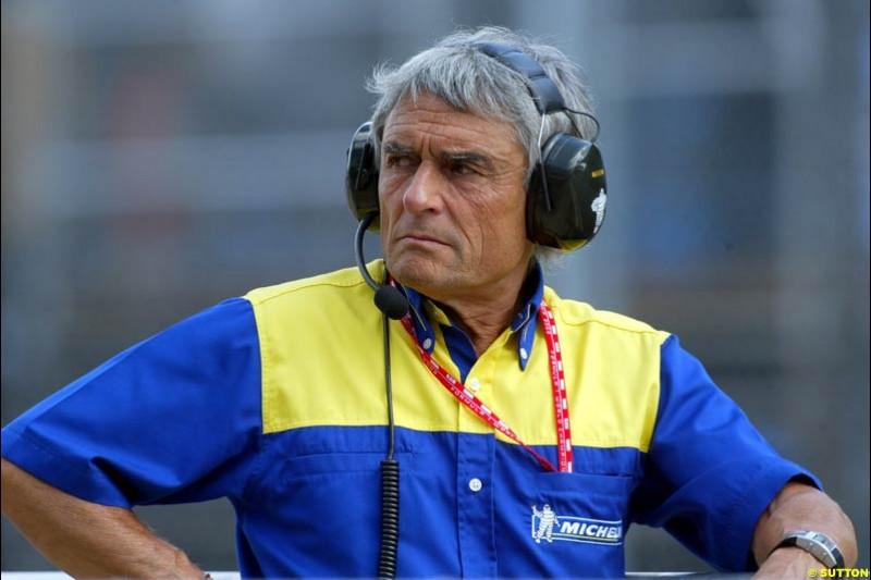 Pierre Dupasquier, Michelin. Saturday qualifying for the Brazilian Grand Prix. Interlagos, Sao Paulo, April 5th 2003.