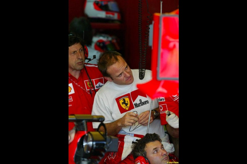 Rubens Barrichello. Saturday qualifying for the Brazilian Grand Prix. Interlagos, Sao Paulo, April 5th 2003.