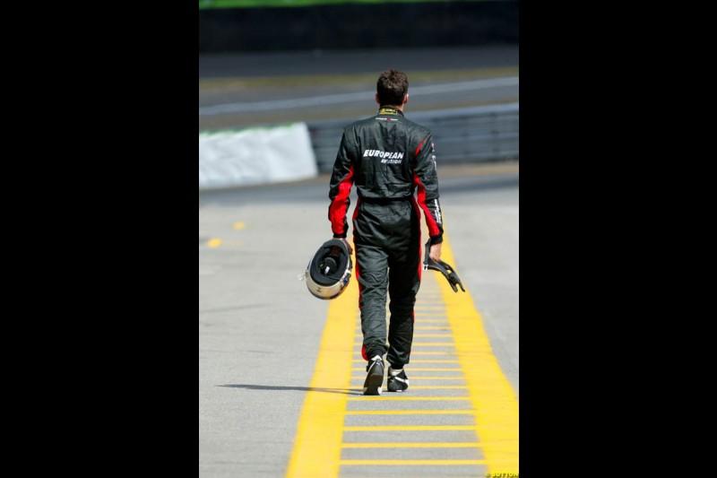 Justin Wilson. Saturday qualifying for the Brazilian Grand Prix. Interlagos, Sao Paulo, April 5th 2003.