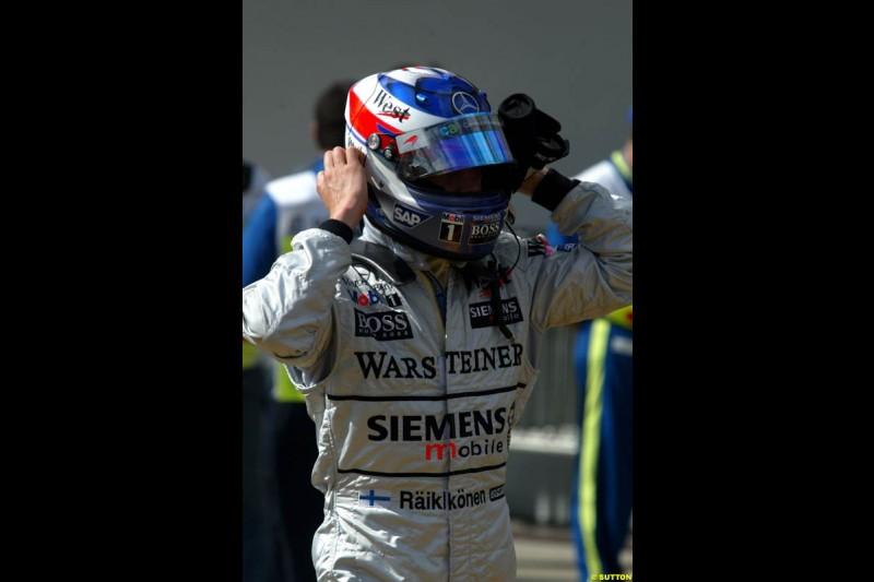 Kimi Raikkonen. Brazilian Grand Prix Saturday qualifying at Interlagos. Sao Paulo, April 5th 2003.
