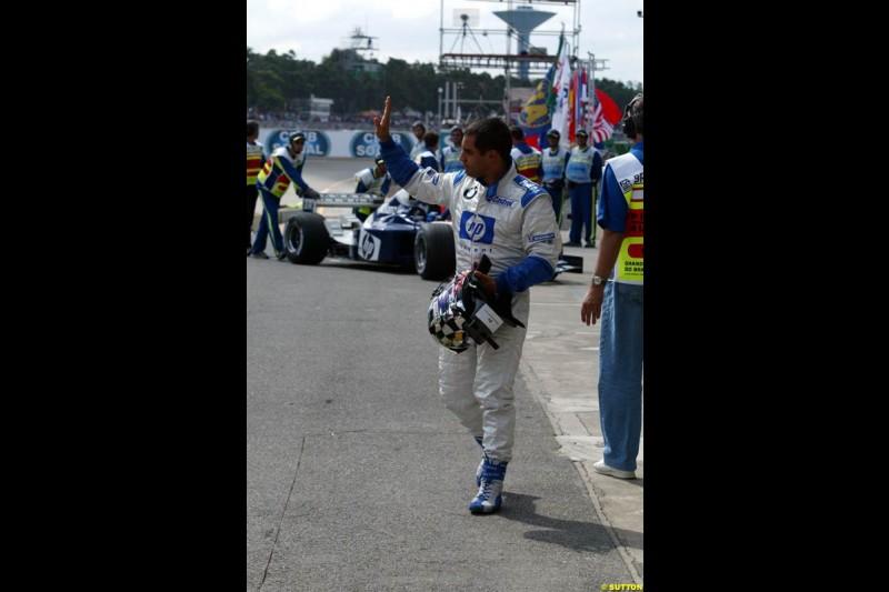 Juan Pablo Montoya. Brazilian Grand Prix Saturday qualifying at Interlagos. Sao Paulo, April 5th 2003.