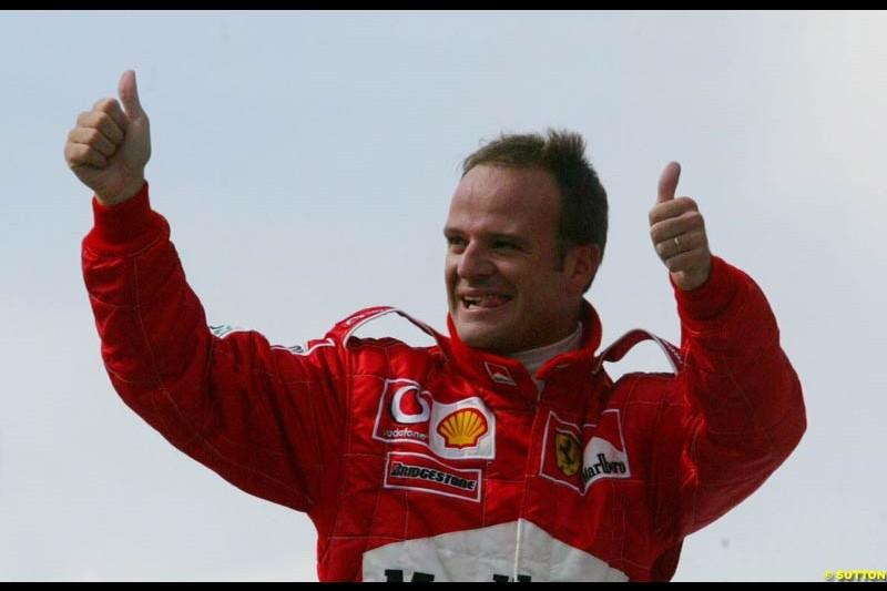 Pole sitter Rubens Barrichello, Brazilian Grand Prix Saturday qualifying at Interlagos. Sao Paulo, April 5th 2003.