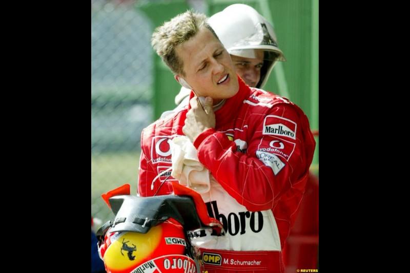 Michael Schumacher after qualifying for the Brazilian Grand Prix. Interlagos, Sao Paulo, April 5th 2003.