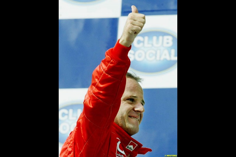 Rubens Barrichello on pole position for the Brazilian Grand Prix. Interlagos, Sao Paulo, April 5th 2003.