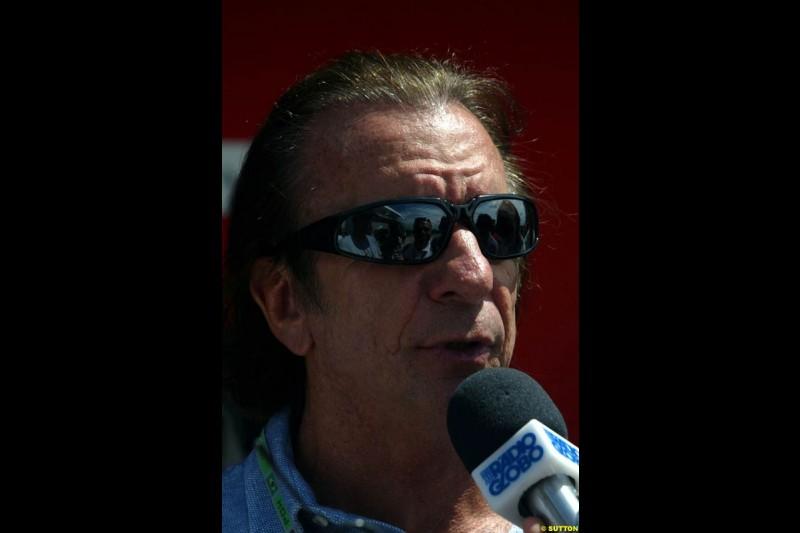 Emerson Fittipaldi. Saturday practice for the Brazilian Grand Prix. Interlagos, Sao Paulo, April 5th 2003.