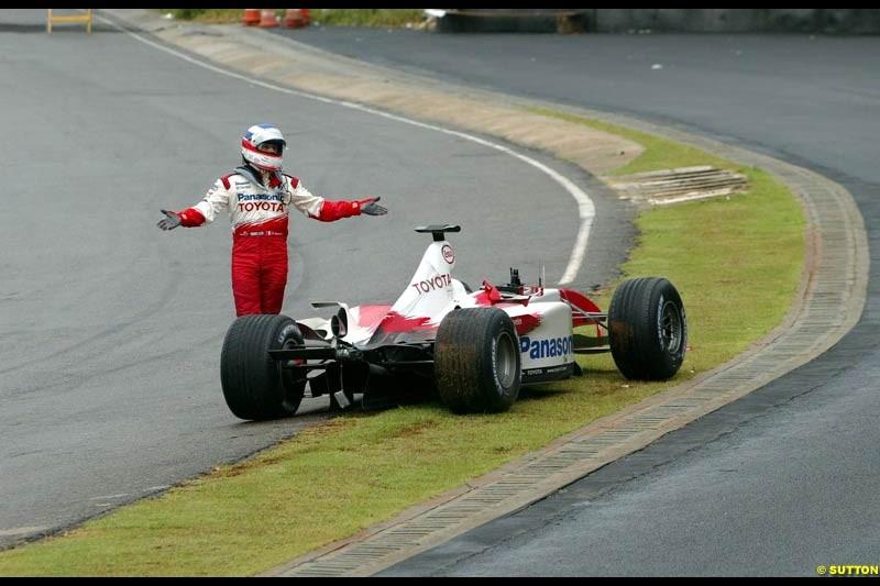 Olivier Panis, Toyota, during the Brazilian Grand Prix. Interlagos, Sao Paulo, April 6th 2003.