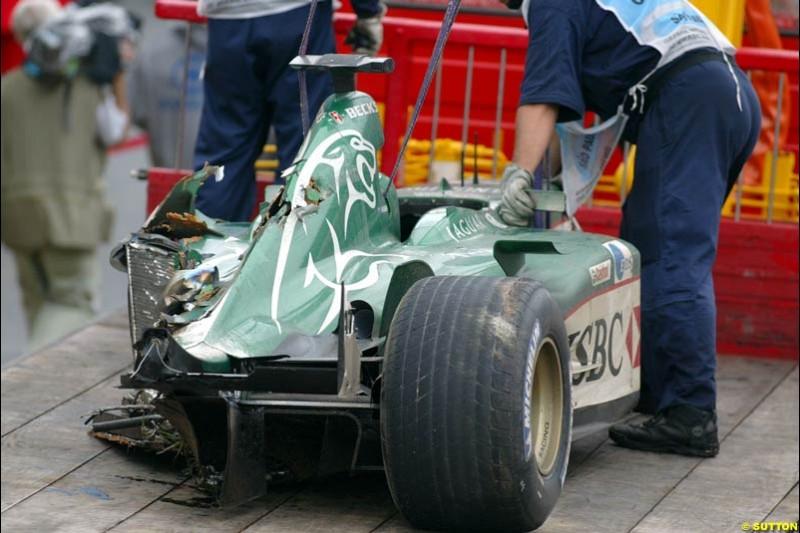 A damaged Jaguar. Brazilian Grand Prix. Interlagos, Sao Paulo, April 6th 2003.