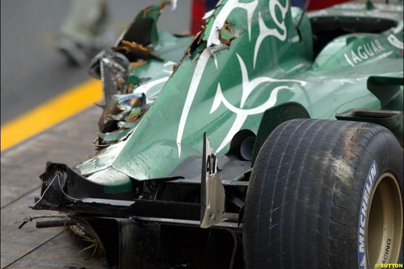 A damaged Jaguar side pod. Brazilian Grand Prix. Interlagos, Sao Paulo, April 6th 2003.