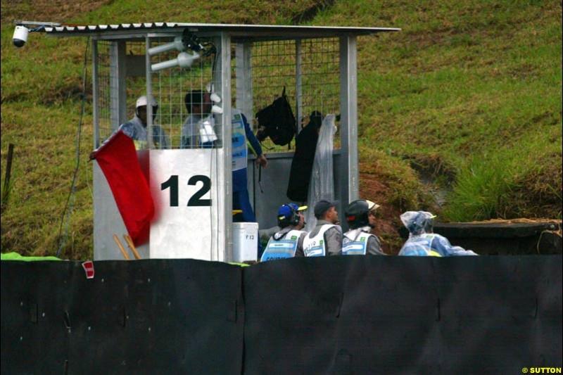The red flag. Brazilian Grand Prix. Interlagos, Sao Paulo, April 6th 2003.