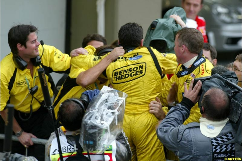 Giancarlo Fisichella, Jordan, celebrates an unconfirmed victory, later corrected to second place. Brazilian Grand Prix. Interlagos, Sao Paulo, April 6th 2003.
