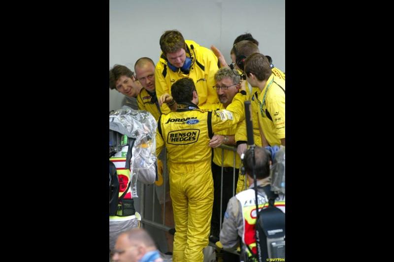 Giancarlo Fisichella, Jordan, with team owner Eddie Jordan. Brazilian Grand Prix. Interlagos, Sao Paulo, April 6th 2003.