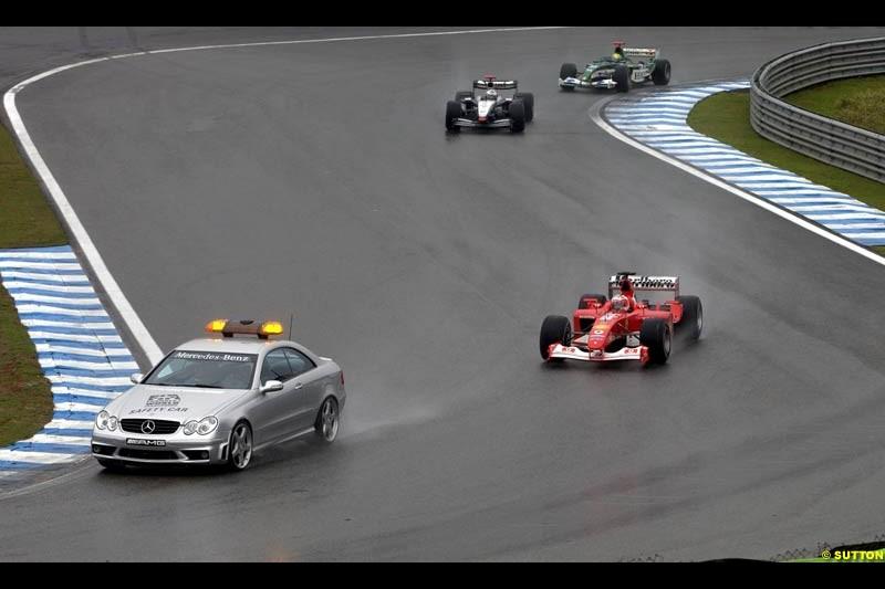 The safety car leads the field. Brazilian Grand Prix. Interlagos, Sao Paulo, April 6th 2003.