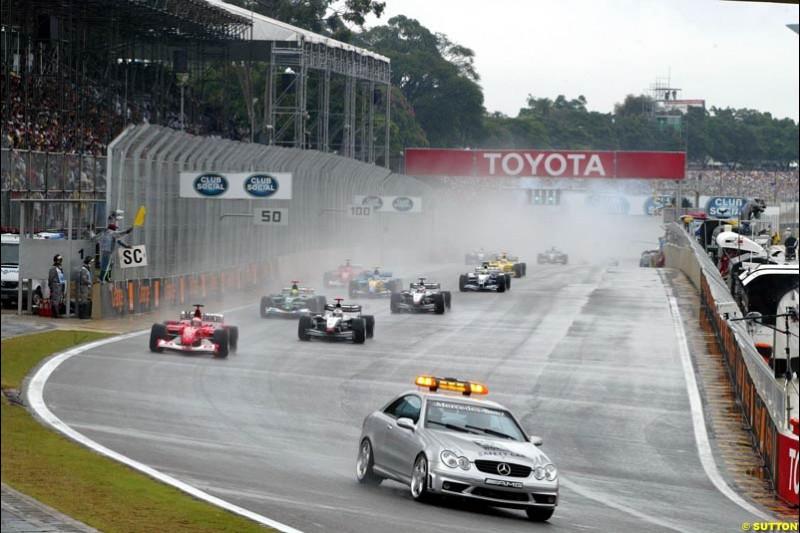 A safety car period. Brazilian Grand Prix. Interlagos, Sao Paulo, April 6th 2003.