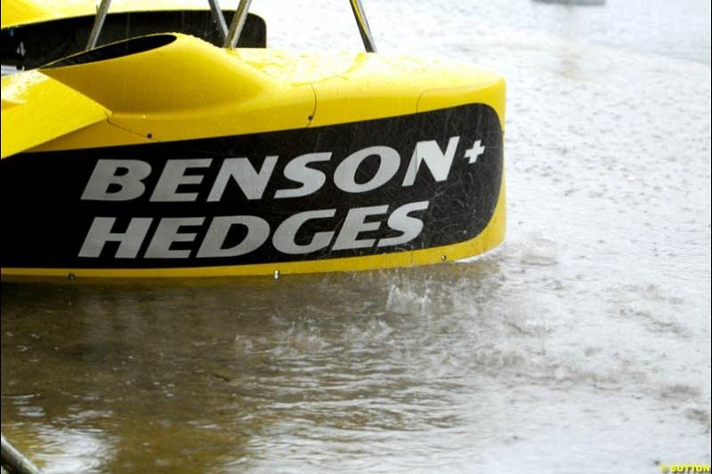 A Jordan side pod. Brazilian Grand Prix. Interlagos, Sao Paulo, April 6th 2003.