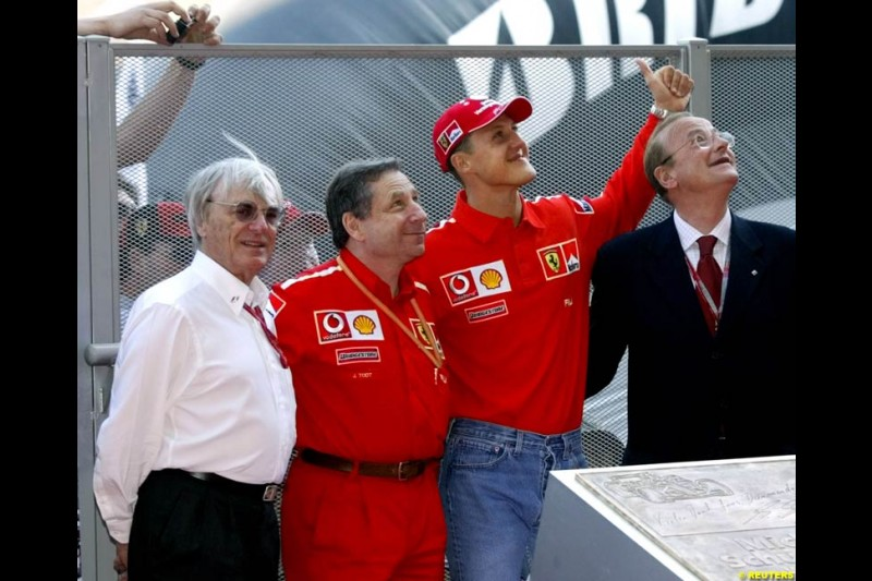Michael Schumacher inaugurates a plaque in his honour on Champions Avenue at Circuit de Catalunya. Barcelona, Spain, May 2nd 2003.
