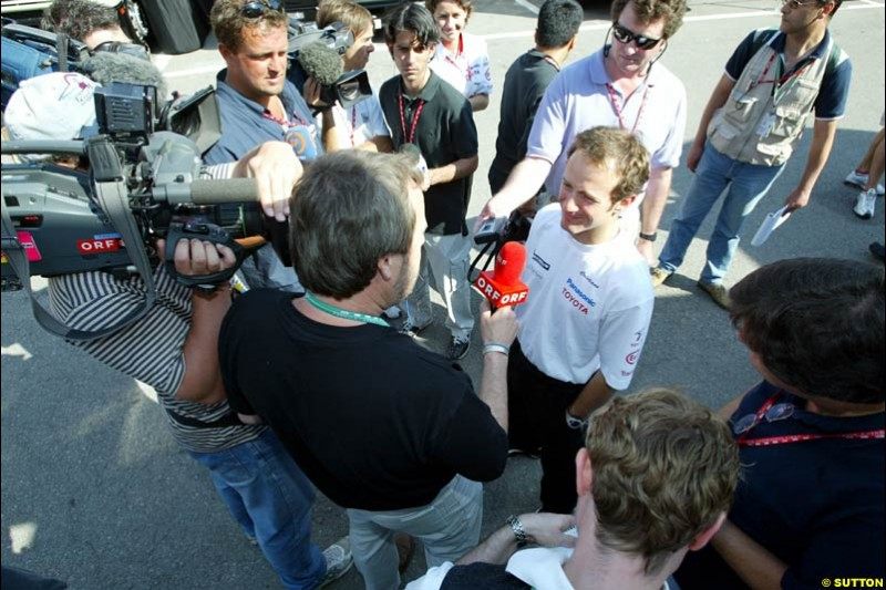 Cristiano da Matta, Toyota, meets the press. Friday at the Circuit de Catalunya, Barcelona, Spain. May 2nd 2003