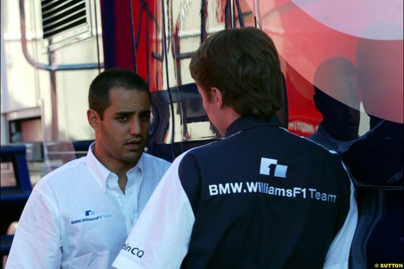 Juan Pablo Montoya and Sam Michael, Williams. Friday at the Circuit de Catalunya, Barcelona, Spain. May 2nd 2003