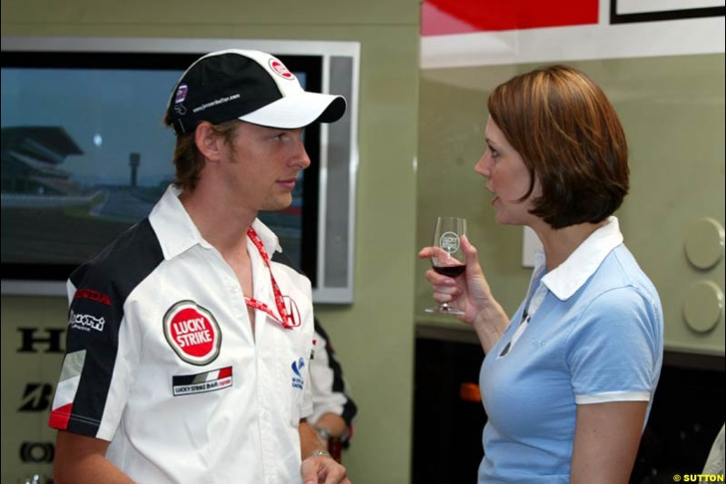 Jenson Button with ITV reporter. Friday at the Circuit de Catalunya, Barcelona, Spain. May 2nd 2003