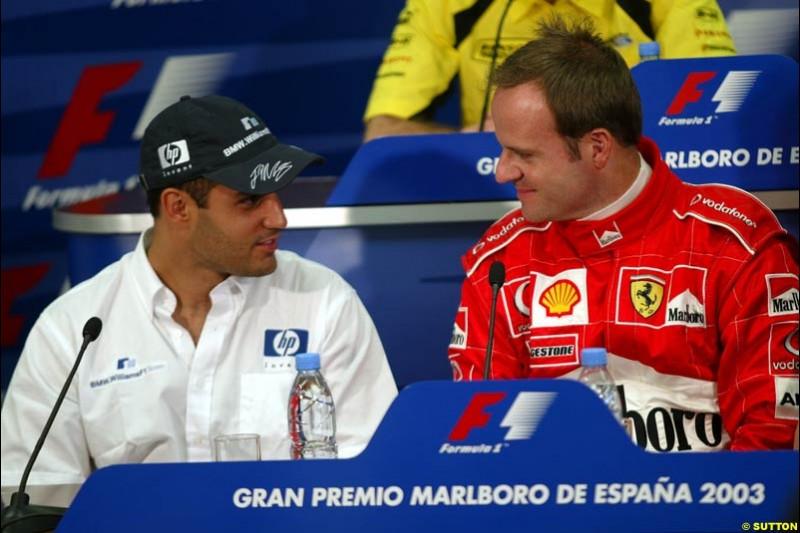 Juan Pablo Montoya, Williams, and Rubens Barrichello, Ferrari, during the FIA Friday press conference for the Spanish Grand Prix. Circuit de Catalunya, Barcelona, Spain. May 2nd 2003