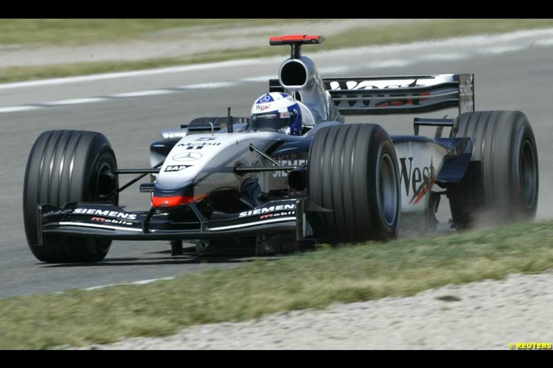 David Coulthard, McLaren. Friday, Spanish Grand Prix at the Circuit de Catalunya. Barcelona, Spain. May 2nd 2003.