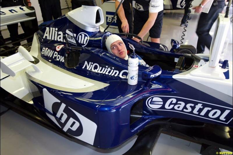 Ralf Schumacher, Williams, Friday, Spanish Grand Prix at the Circuit de Catalunya. Barcelona, Spain. May 2nd 2003.
