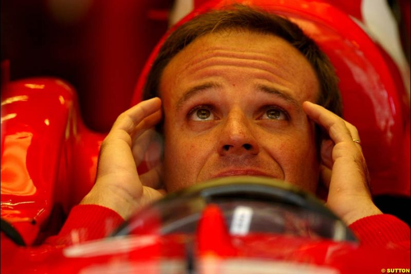 Rubens Barrichello, Ferrari. Friday, Spanish Grand Prix at the Circuit de Catalunya. Barcelona, Spain. May 2nd 2003.