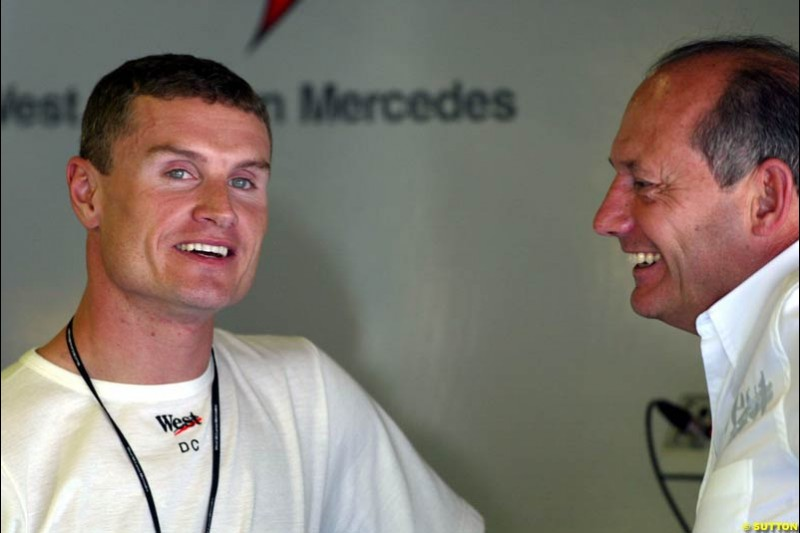 David Coulthard and Ron Dennis, McLaren. Friday, Spanish Grand Prix at the Circuit de Catalunya. Barcelona, Spain. May 2nd 2003.