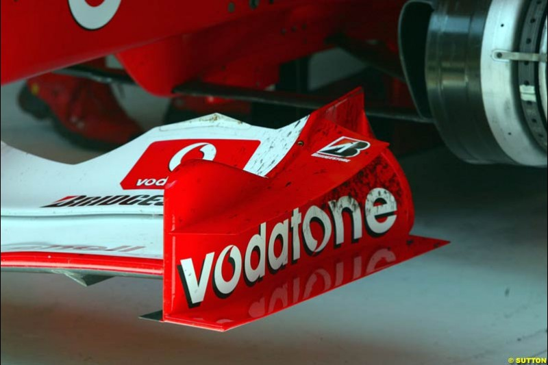 The new Ferrari front wing. Friday, Spanish Grand Prix at the Circuit de Catalunya. Barcelona, Spain. May 2nd 2003.