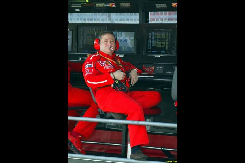 Jean Todt, Ferrari. Friday, Spanish Grand Prix at the Circuit de Catalunya. Barcelona, Spain. May 2nd 2003.