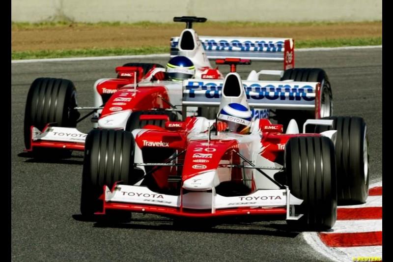 Toyota drivers. Friday, Spanish Grand Prix at the Circuit de Catalunya. Barcelona, Spain. May 2nd 2003.