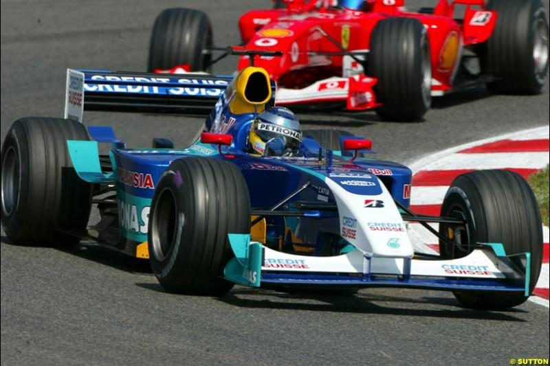 Nick Heidfeld, Sauber. Friday, Spanish Grand Prix at the Circuit de Catalunya. Barcelona, Spain. May 2nd 2003.